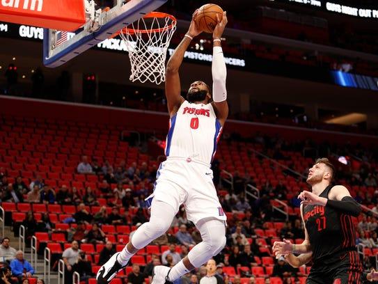 Detroit Pistons center Andre Drummond (0) dunks the