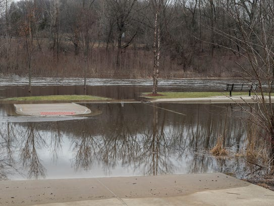 The Kalamazoo River overflowed its banks in Albion