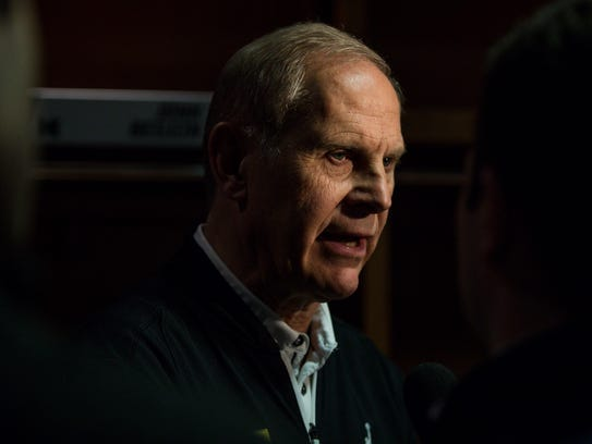 Michigan coach John Beilein talks to the media in the