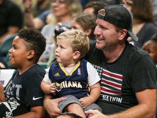 Fans cheer on the Indiana Pacers in a scirmmage game