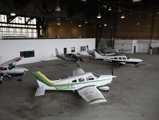 Aircraft are stored in hangar two of the executive