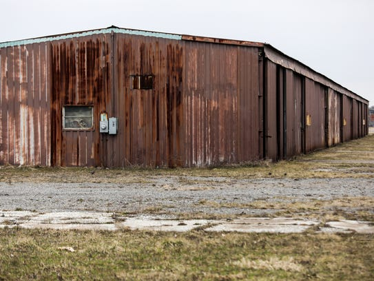 One of the T hangars at the Coleman A. Young International