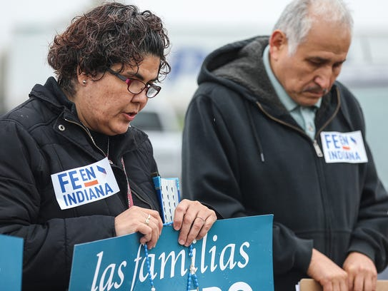 A prayer vigil is held for Erika Fierro, a mother of two who was arrested by Immigration and Customs Enforcement agents.