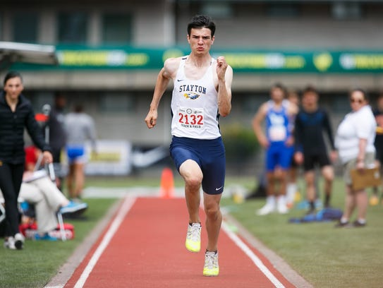 Stayton's Jarred Boedigheimer competes in the 4A boys