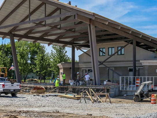 An expanded Nickel Plate District Ampitheater at the north end of Municipal Plaza is under construction in Fishers.