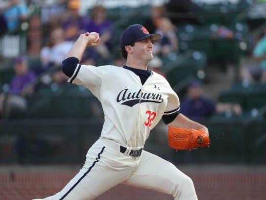 Auburn pitcher Casey Mize pitches against LSU Friday,