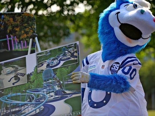 Indianapolis Colts mascot Blue jokes around after a