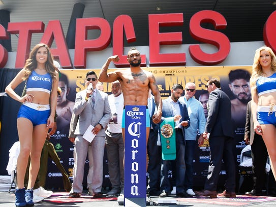 Austin Trout poses after weigh-in Friday in Los Angeles.