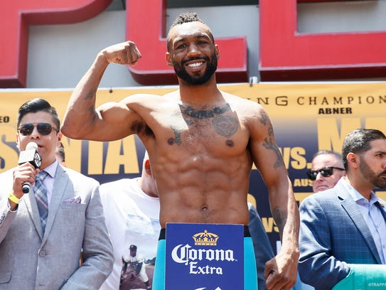 Austin Trout poses for photographers Friday in Los