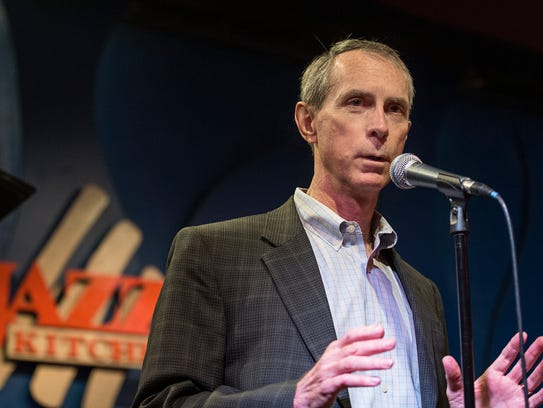 Dr. Mark Payne, a pediatric cardiologist with Indiana University School of Medicine, has spent more than a decade researching a cure for Friedreich's ataxia, seen here speaking at the Jazz Kitchen in Indianapolis on Sunday, June 10, 2018.