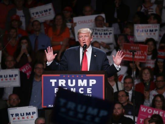 Donald Trump speaks at in Warren, Mich., on Oct. 31,