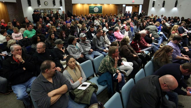 """The Jackson township council voted on its controversial dormitory ordinance. The last meeting featured many members of the Orthodox Jewish community, as well as many """"Jackson Strong"""" people who swear they're not anti-Semites.  Jackson, New Jersey. Wednesday, March 8, 2017. David Gard /Correspondent"""
