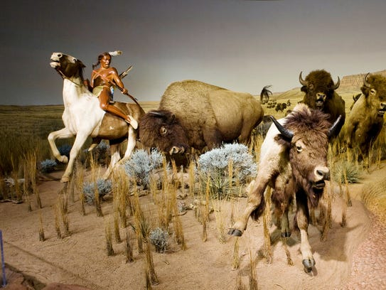 The bison  hunt exhibit at the Milwaukee Public Museum