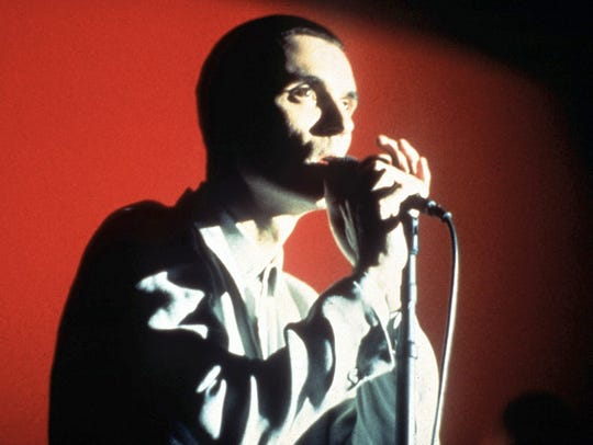 "A scene from ""Stop Making Sense"" featuring David Byrne"