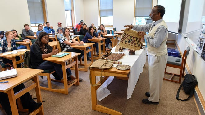 Osman Mohamed Ali, founder and executive director of the Somali Museum of Minnesota in Minneapolis, talks about the history and culture during a presentation Tuesday, Sept. 19. at St. John's University. About 25 people learned about Somalia's culture, farming, geography and resources.