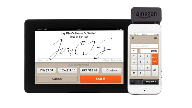 The app and card reader available with Amazon Local Register.