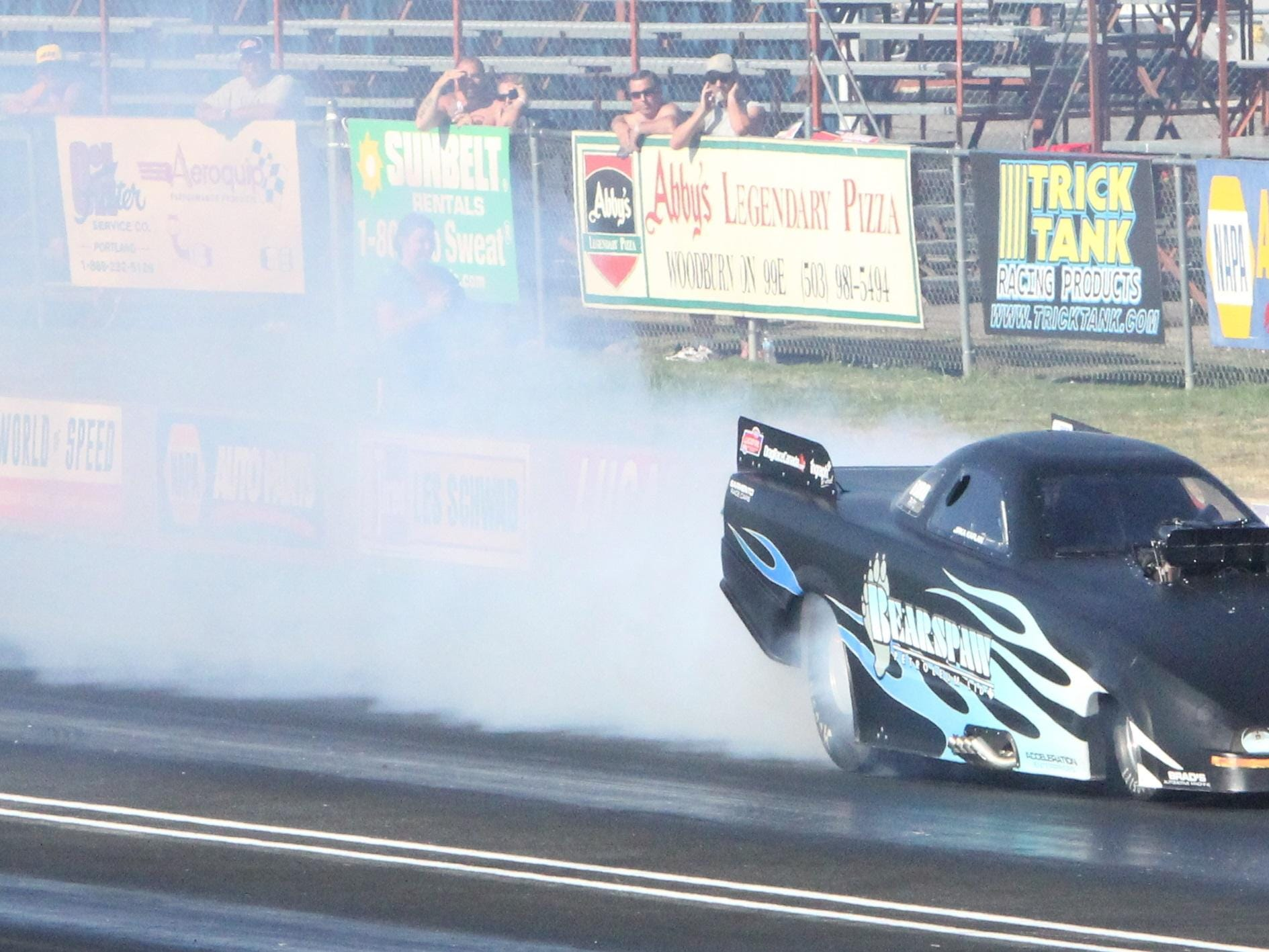Annie Whiteley wins the Top Alcohol Funny Car class at the Les Schwab Challenge at Woodburn Dragstrip on Sunday, July 19, 2015.