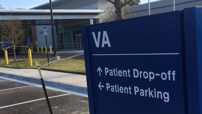 Front entrance to the VA clinic on Ambassador Caffery Parkway.
