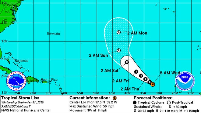 Tropical Storm Lisa continues to gain strength over the eastern tropical Atlantic.