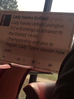 This is a picture of the sign Lexington softball coach Ronnie Burke had printed to remind his team of the district loss they suffered last year.