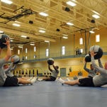 Soldiers work out with medicine balls in Fort Stewart, Georgia's newest gym, located in the 4th Infantry Brigade Combat Team complex.