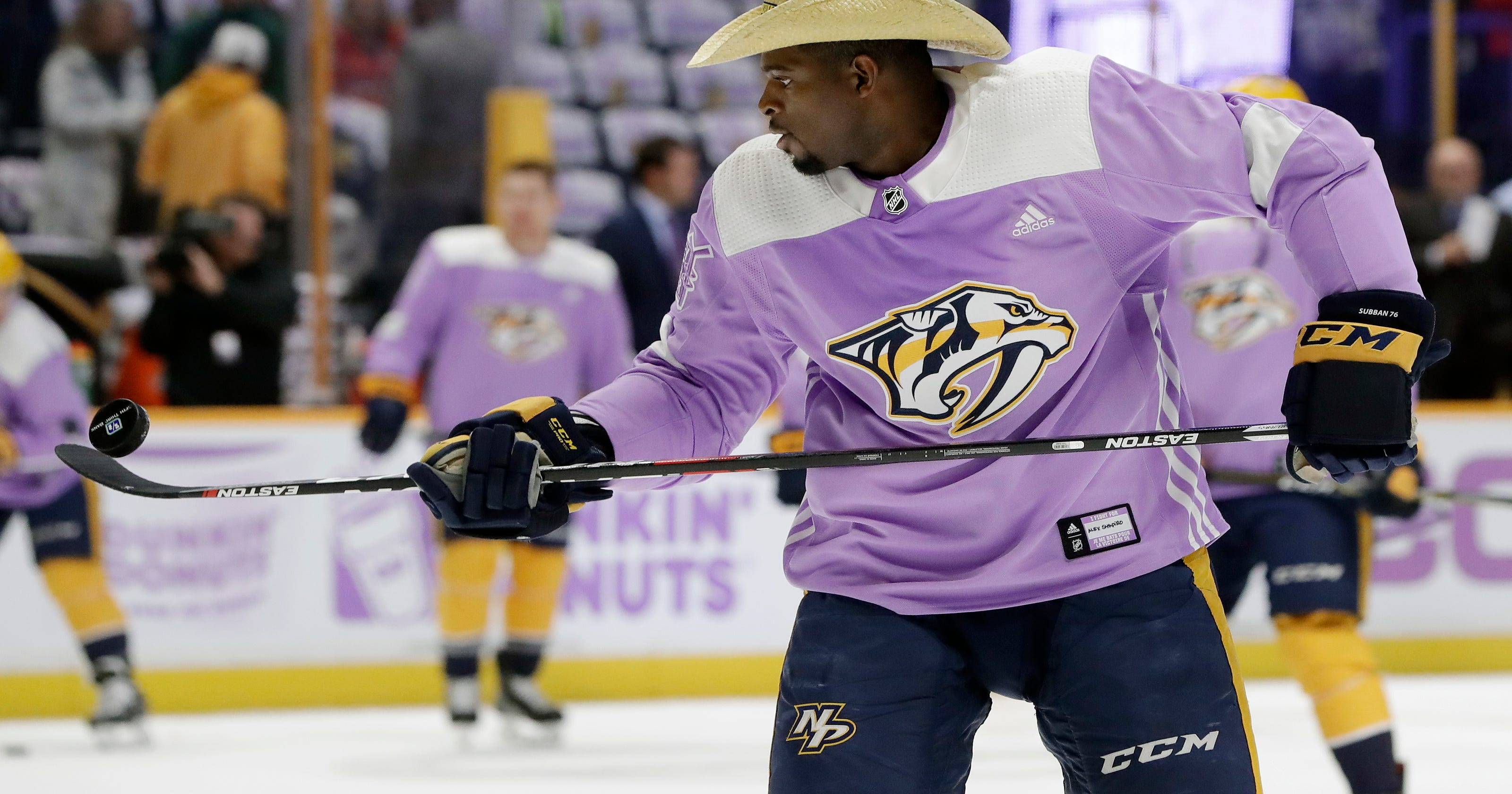 P.K. Subban s warmup routine is show before the show at Predators games 442e6ffcd