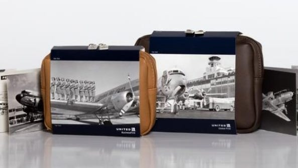 United Airlines amenity kits celebrating the carrier's