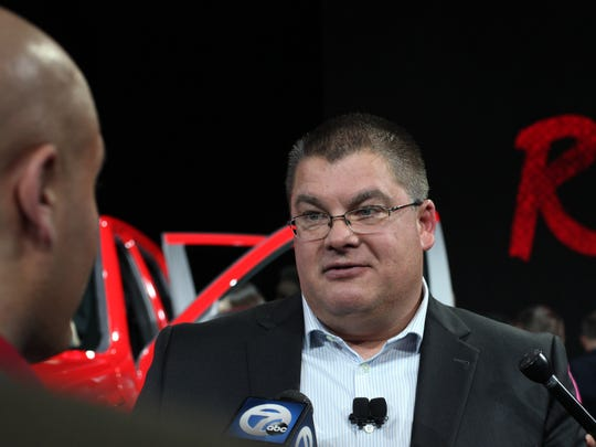 Bob Hegbloom President and CEO of Ram Truck, talks to the media after the Ram event Tuesday at the 2015 North American International Auto Show at Cobo.