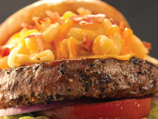 The mac and cheezburger from Quaker Steak and Lube.