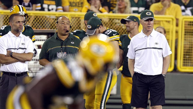 Green Bay Packers General Manager Ted Thompson likes to be on the field to watch players during the preseason.