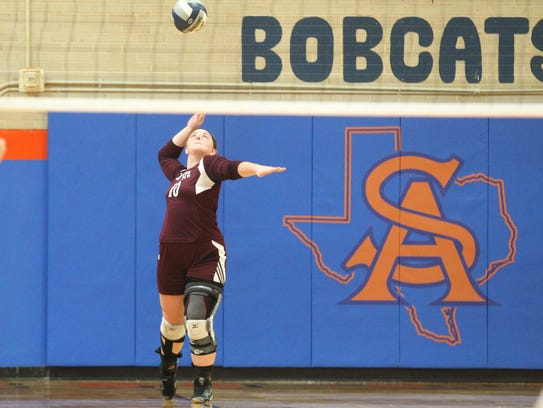 Bronte High School's Cassidy McWright serves during
