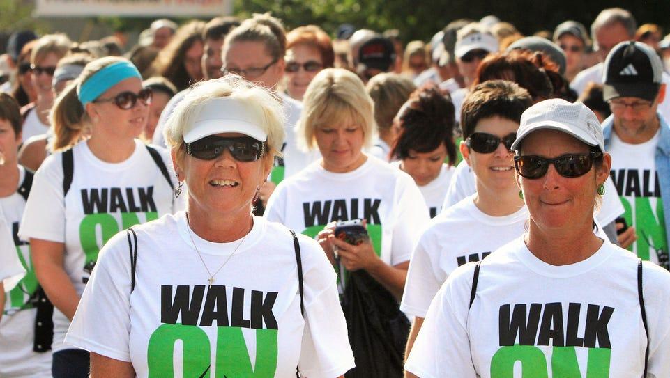 Walk Indiana participants Linda Hay (left) and Lana