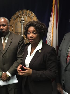 Sen. Linda Coleman, D-Birmingham, discusses a resolution supporting Medicaid expansion on April 28, 2015.