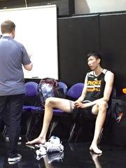 Zhou Qi at the Suns' training facility.