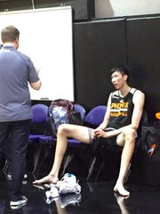 Zhou Qi at the Suns' training facility.