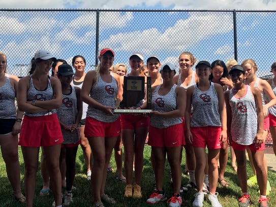 Center Grove's girls tennis team pose with their semistate