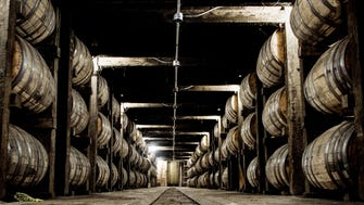 Barrels of whiskey are being aged in one of the barrel warehouses at the Jack Daniel Distillery in Lynchburg, Tennessee. This barrel warehouse holds more than 1 million gallons of whiskey.