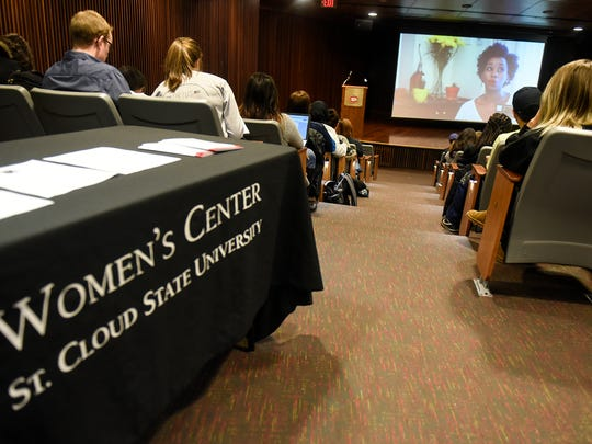 Kari Mugo speaks in a video from Nairobi, Kenya, during a Women on Wednesday presentation Wednesday, March 14, 2018, at St. Cloud State University.