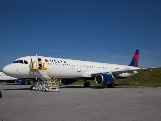 Delta Air Lines' first Airbus A321 narrow-body airplane
