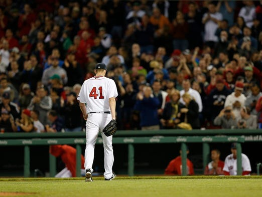 May 24: Boston Red Sox pitcher Chris Sale (41) walks