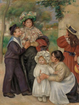 This image is in the permanent collection and relates directly to the special exhibition.   The painting is found in the Main Room of the Barnes on the East Wall.  Jean Renoir is the child standing in the elaborate bonnet. His nanny, Gabrielle Renard, is attending to him. The painting by  Pierre-Auguste Renoir (1841-1919) is titled 'The Artist's Family (La Famille de l'artiste).' 1896
