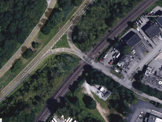 This aerial image from Google maps shows where Green Lane intersects with the Metro-North tracks in Bedford.