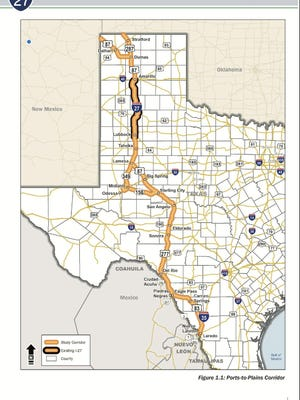 Graph of the proposed Ports-to-Plains Corridor route in Texas.