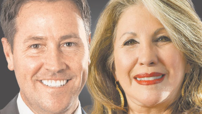 Incumbent Pensacola Mayor Ashton Hayward, left, is challenged by Donna Clark in this year's election.