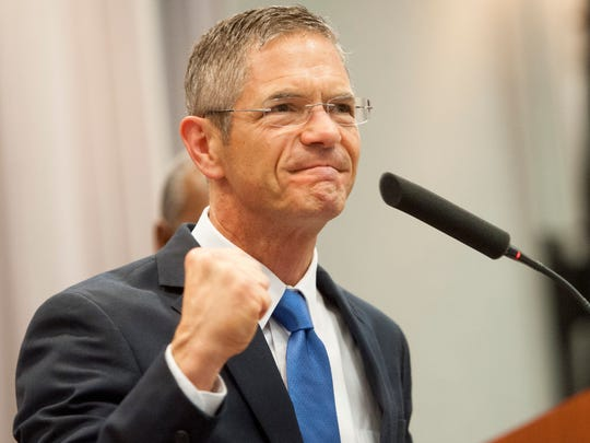 Mark Schauer gives a campaign speech at the UAW Region 1 George Merrelli Technical Training Center in Warren, October 13, 2014.