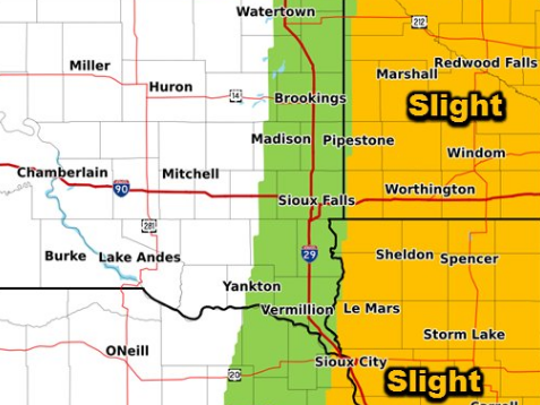 Chances of excessive rainfall in southeast South Dakota