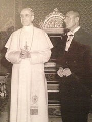 Tina Alexis Allen's father with Pope Pius XII.