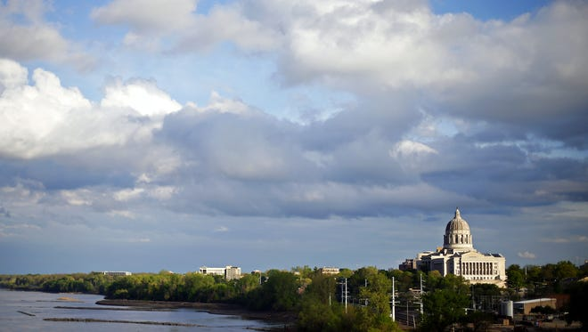 The Missouri State Capitol overlooks the Missouri River in Jefferson City on April 20.