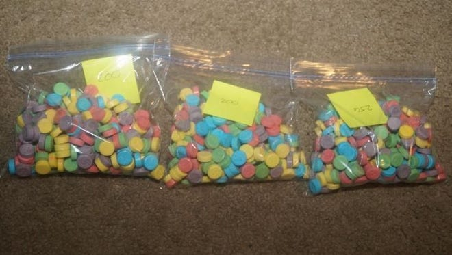 """Greenfield police found more than 100 drug laced """"Sweet Tarts"""" and other narcotics in a recent drug bust"""