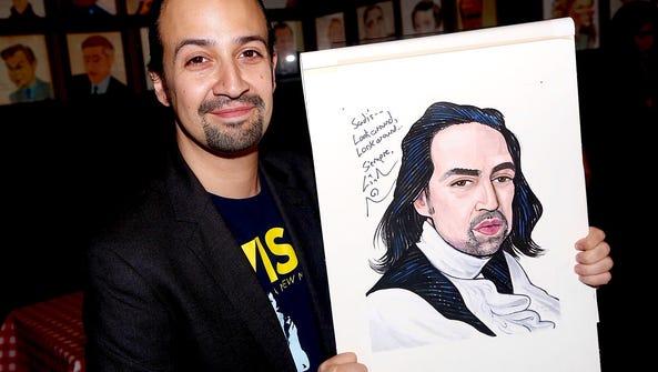 Lin-Manuel Miranda seems to like his 'Hamilton' likeness.